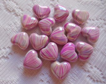 15  Hot Pink Magenta & White AB Striped Heart Acrylic Beads  14mm