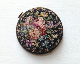 Petit Point Compact . Antique Compact . Antique Needlework . Antique Petit Point . Collectible . Handwork .