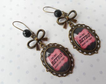"Earrings glass cabochon 25 X 18 mm vintage ""a little retro but not too"" red, black, polka dots, bronze charms, optional gift box"