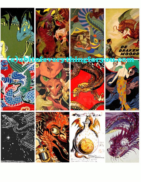 """vintage medieval chinese dragons clip art collage sheet 2"""" x 3"""" inch graphics images digital download craft downloadable image printables"""