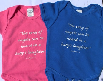 SONG OF ANGELS tee, baby onsies, sentimental onsie, poem onsie