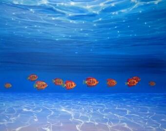 LARGE ORIGINAL Oil Painting - Ten Orange fish under the sea
