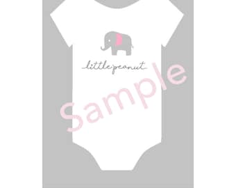 DIGITAL Print Baby Onesie Elephant Little Peanut Sign Poster Pdf Instant Download Baby Shower Room Decoration