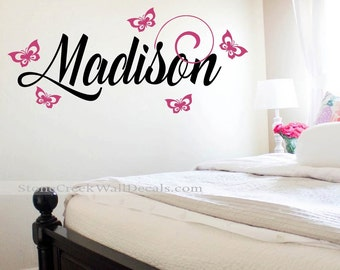Butterfly Wall Decal Girls bedroom Nursery N021 Butterflies Vinyl Wall Decal with Name Children Kids Wall Decal Nursery Bedroom Wall Decal