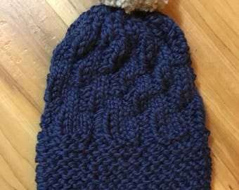 Fractal Slouch: knit hat (navy blue & light gray)
