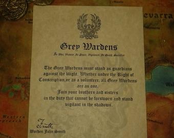 Dragon Age Grey Warden membership writ certificate