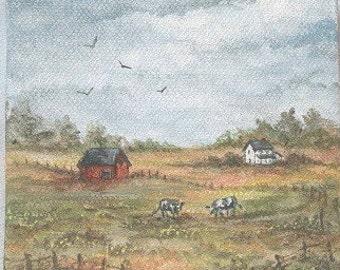 Cows in the pasture/Mini Original Art.