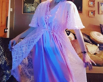 Pretty frothy pink negligee and gown set