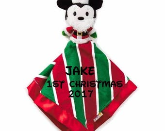 Holiday Mikey Mouse Santa Lovey Snuggle Blankey Security Baby Blanket lovey - Monogrammed