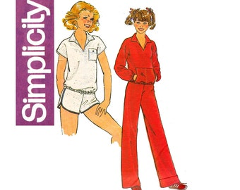 Simplicity 8437 Girls Tracksuit Shorts Top & Pants Activewear 70s Vintage Sewing Pattern Size 9/10 and 11/12