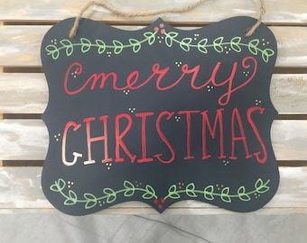 Merry Christmas sign - red lettering
