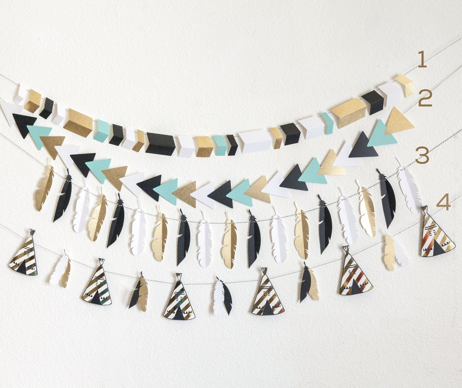 Wild one birthday teepee banner tribal aztec feathers for Aztec decoration