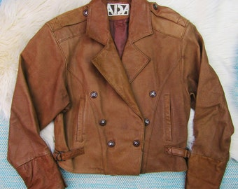 Vintage ADA Womens Leather Moto Jacket Small Brown Tan Cropped Snaps Double Breasted 1980s