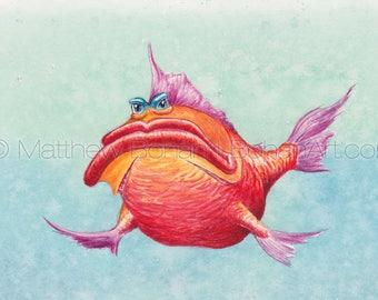 "PRINT of ""Grump"" Crazy Fish, Fish Art, Fish Painting, Fish Print, Watercolor, Wall Art, Home Decor, Funny Fish, Cartoon, Fishing, Kids Room"