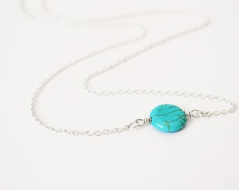 Turquoise Necklace in Sterling Silver, Sterling Silver Gemstone Necklace