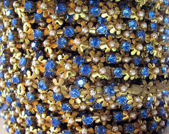 Vintage Swarovski Sapphire Pearl Daisy Chain, Raw Brass , 24 pp priced per foot
