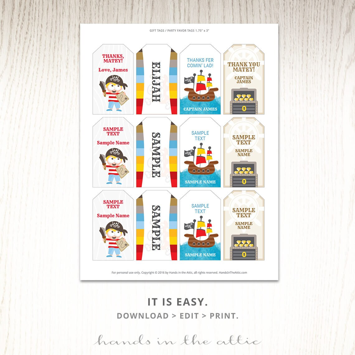 Pirate theme birthday party gift tags, editable labels, party tags ...