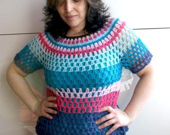 Boho spring top Crochet pattern, summer sweater crochet pattern (258) colorful bohemian crochet pattern