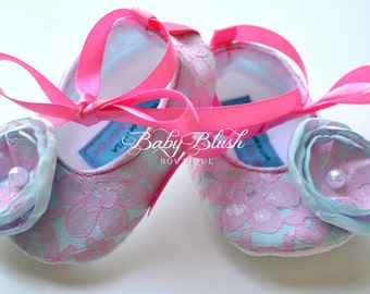 Hot Pink Lace on Aqua Baby Shoes Ballerina Slippers