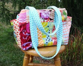DYO Patchwork XL Ultimate Diaper Bag with Zippered Top Closure
