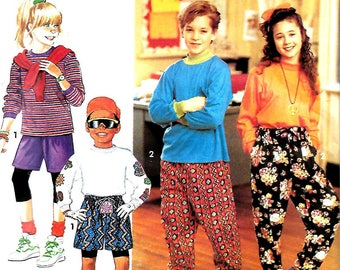 Simplicity 7480 Boys & Girls Pants Or Shorts And Knit Top Pattern, S-L, UNCUT