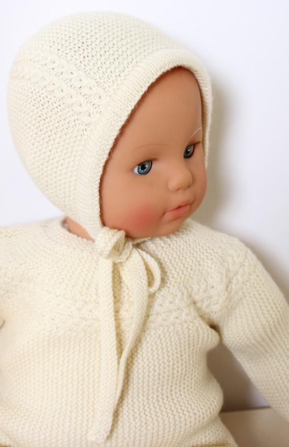 27 / Baby Bonnet Princess Charlotte / Knitting Pattern Instructions in French /  PDF Instant Download / Size : Newborn