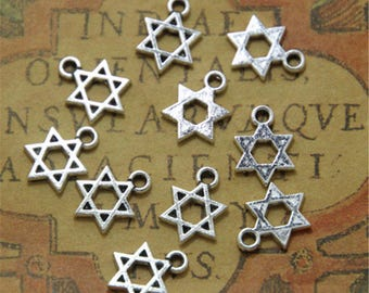 50pcs Little Star of David charms silver tone 6 pointed star hexagram 21x16mm ASD0097