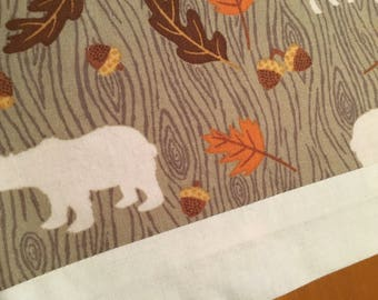 Table runner, fall table runner, deer, bears, leaves, acorns