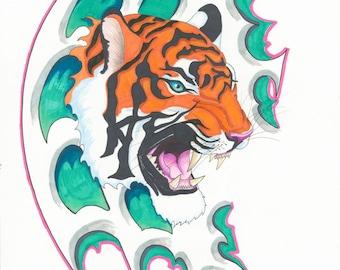 18.5x14.5 gloss print Tiger
