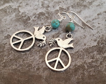Peace Dove Earrings - Blue Turquoise, Peace Sign Silver Plated Earrings - Peace on Earth