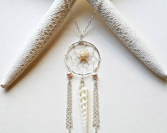 Boho Dream Catcher Necklace, Dream Catcher Pendant, Starfish Dream Catcher, Mermaid Dream Catcher