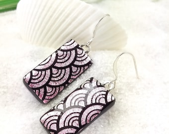 Dichroic earrings, fused glass jewelry, dichroic glass, fused glass art, pink earrings, jewelry handmade, pastel jewelry, dichroic jewelry