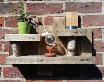 Upcycled rustic chunky shelves with natural birch supports