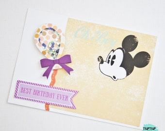 Mickey Mouse birthday card / handmade card / shaker card