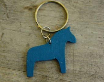 Swedish Wooden Dala Horse Key Ring/Folk/Boho