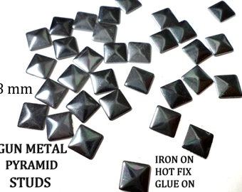 Gun Metal Pyramids Rivets, Square Studs for Iron On  7 - 8 mm