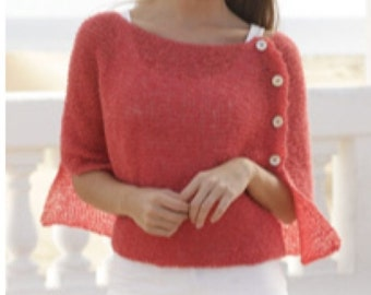 Handmade light summer knitted poncho / wrap (sizes S - XXL), alpaca wool and silk blend