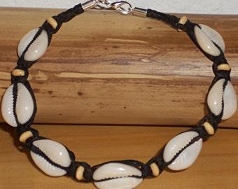 Handmade Shell Cowrie Anklet Brown Leather Surf Shell Women Surfer Bracelet Girls Beach