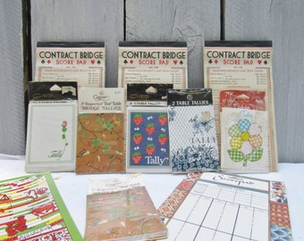 Vintage Bridge Score Pads, Contract Bridge score sheets, Caspari bridge tally, colorful cute tally sheets, contempo bridge tallys,game night