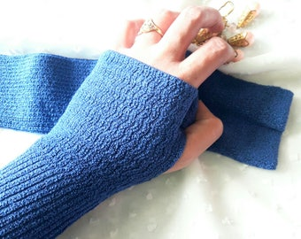 """11"""" Royal Blue Fingerless Knitted Arm Sleeves, Arm Warmers, Arm Gloves, Arm Covers for Girls & Women"""
