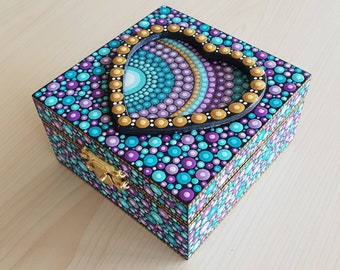 Mandala Jewellery Box - Painted Wood Photo Trinket Box - Keepsake  Box - Unique Gift - Home Decor - Dot Art - Boho - Painted Rock