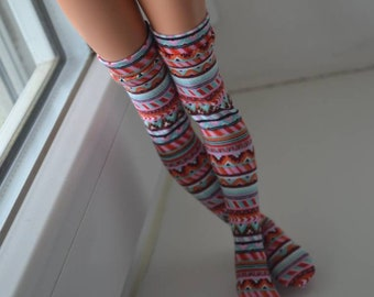 Boho striped stockings for Minifee BJD
