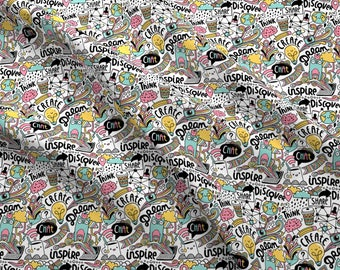 Creative Inspiration Fabric - Doodle Web By Kostolom3000 - Coffee Internet Create Dream Discover Cotton Fabric By The Yard With Spoonflower