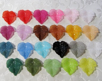 Leaves Frosted Lucite Acrylic Leaf Beads You Choose Colors 440