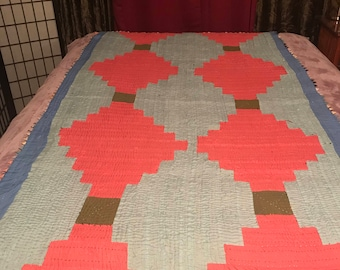 Traditional Ralli Quilt: Salmon and Sky