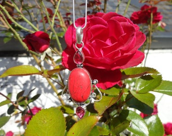 red turquoise pendant and pink Ruby, 925 sterling silver