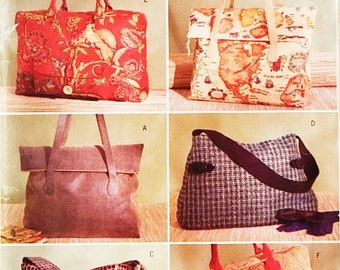 Large Tote Bag Pattern - Instructions to Make 6 Lined Totes - Butterick 4318 Pattern