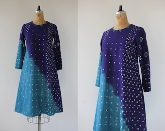 vintage 1970s Indian cotton dress / 70s india cotton dress / 70s tie dye dress / 70s boho dress / 70s festival dress / small medium