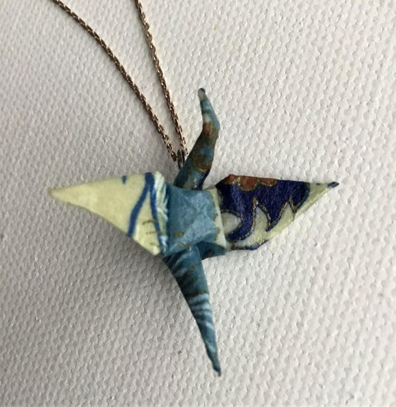 Wearable origami crane chiyogami origami pendant unique wearable origami crane chiyogami origami pendant unique jewelry and gift aloadofball Images