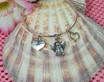 Goddaughter Bracelet.....Expandable Silver Plated Bangle Bracelet